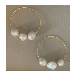 White Floating Pearl 50mm 14K Gold Filled Hoop Earrings