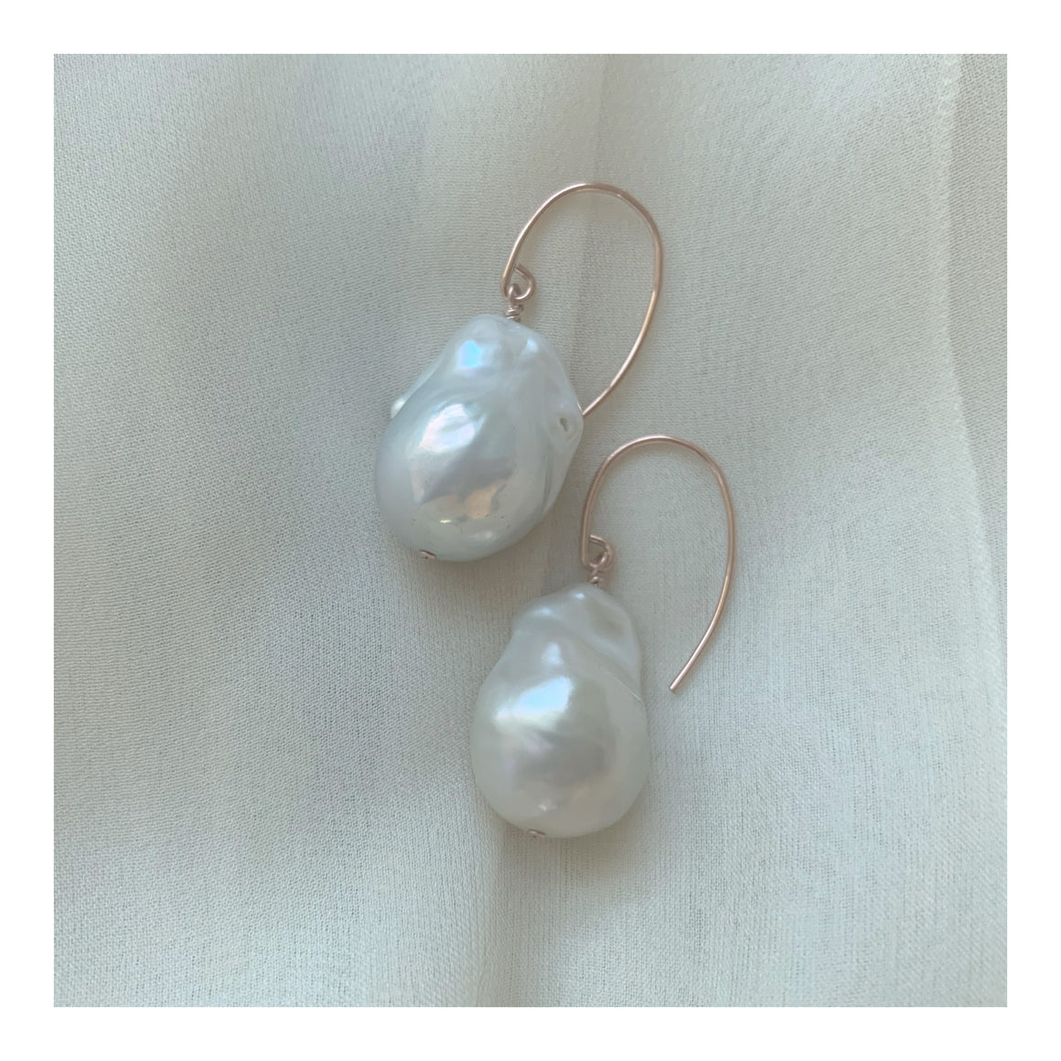 I Dream In Rose Gold Baroque Freshwater Pearl Drop And Dangle Earrings