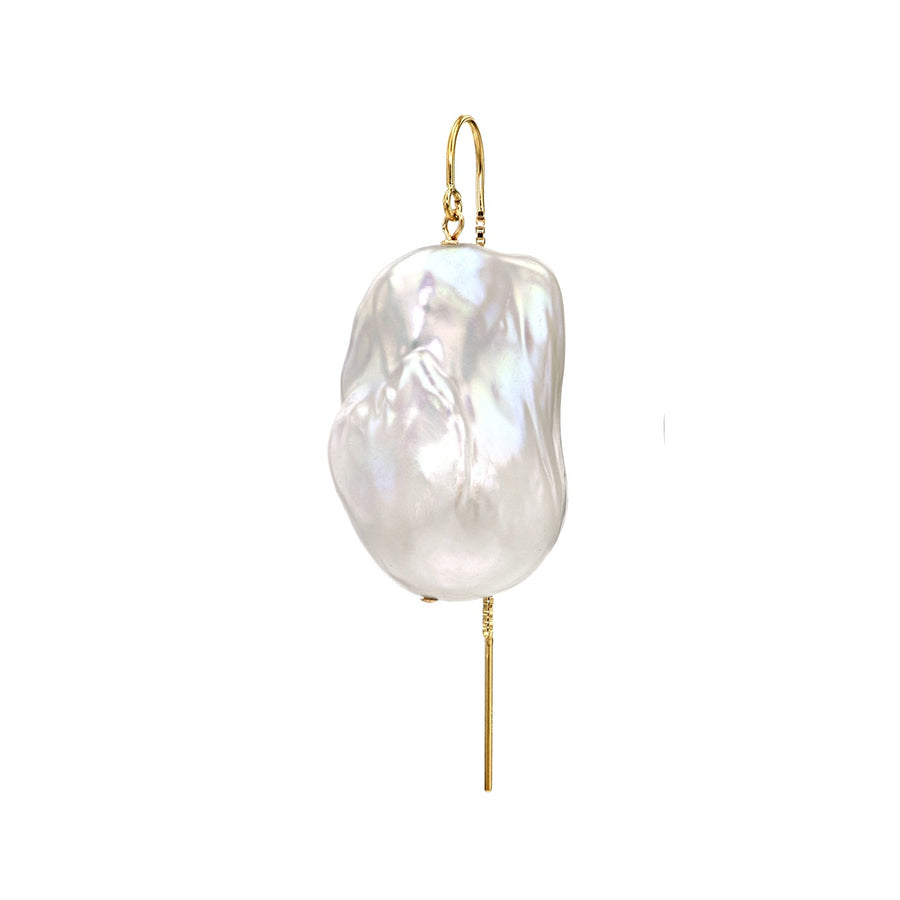 XXL Runway Size 14K Gold Filled Baroque Freshwater Pearl Drop Threader Single Earring