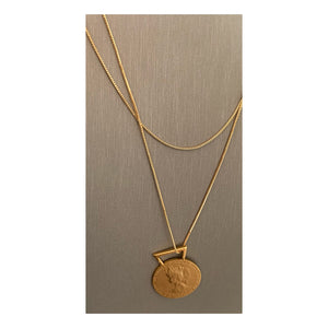 French Médaille D' Honneur 14K Gold Statement Pendant Necklace