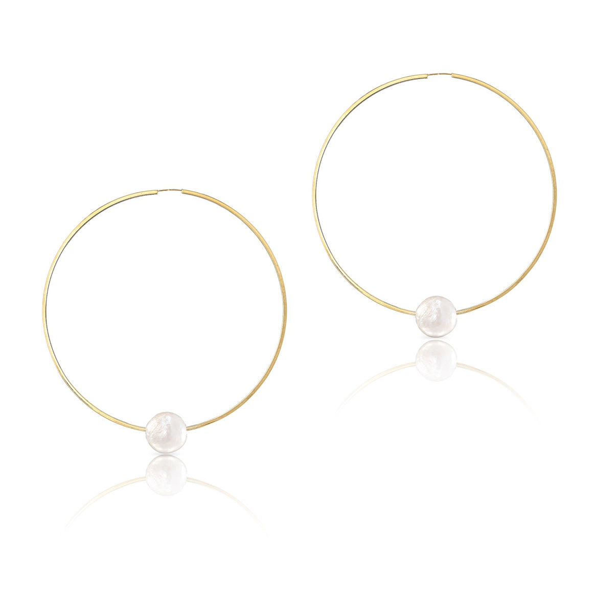 XXL 14K Yellow Gold Floating Pearl Geometric Hoop Earrings