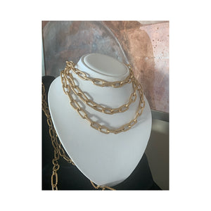 L' Heure D'or Long Chunky Gold Statement Necklace