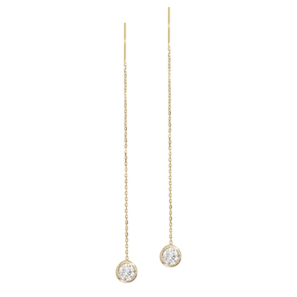 14K Yellow Gold Diamond Bezel Cable Chain Adjustable Threader Earrings