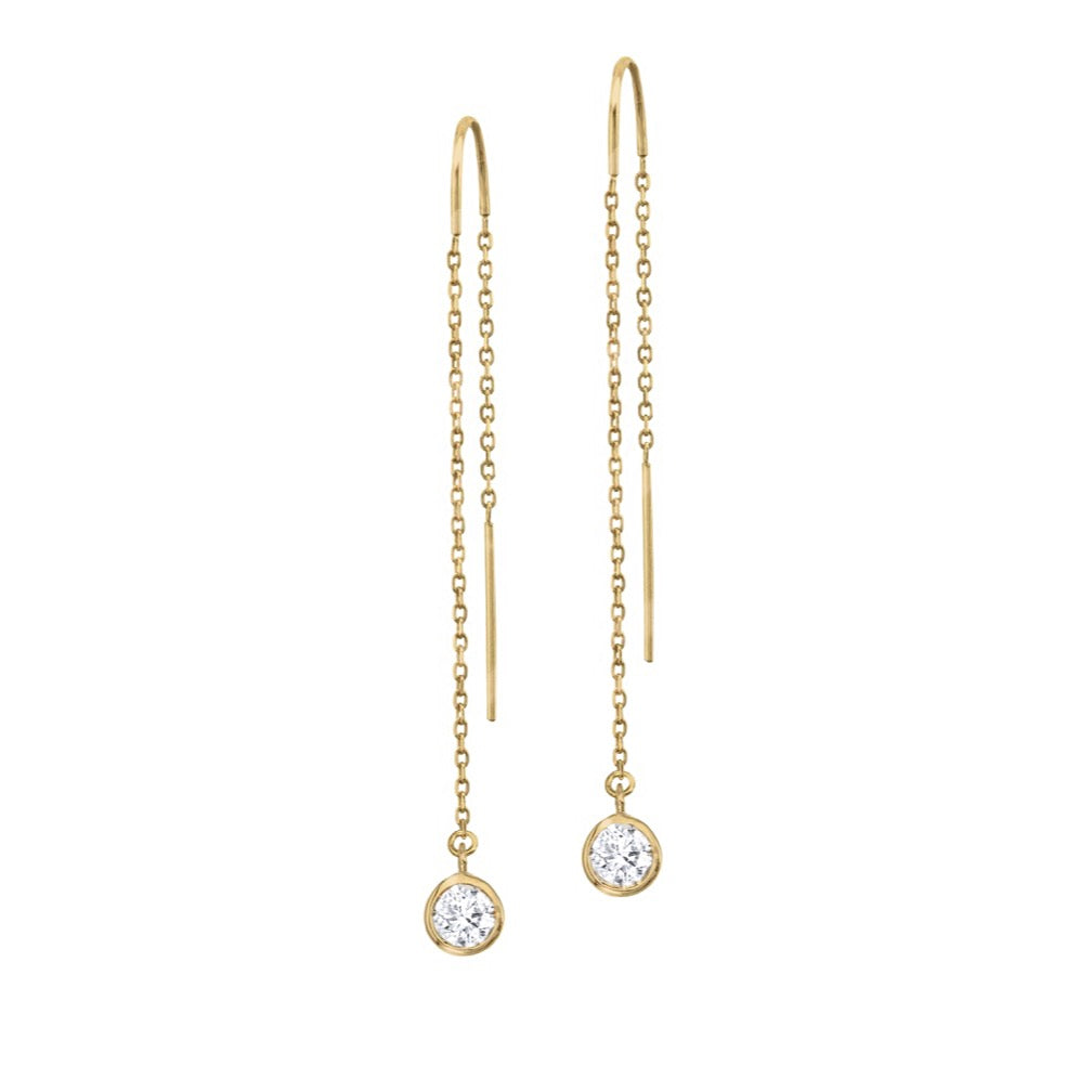 14K Yellow Gold Diamond Bezel Cable Chain Threader Earrings