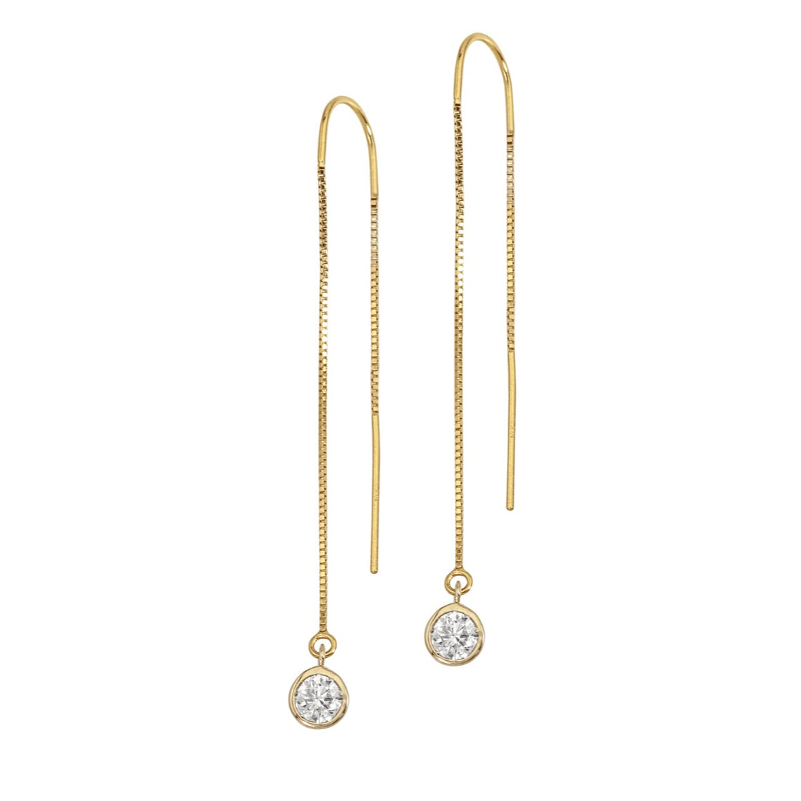 14K Yellow Gold Diamond Bezel Box Chain Threader Earrings