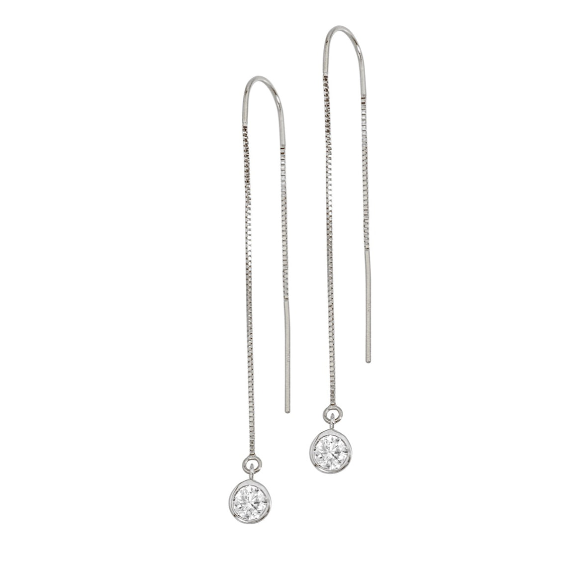 14K White Gold Diamond Bezel Box Chain Threader Earrings