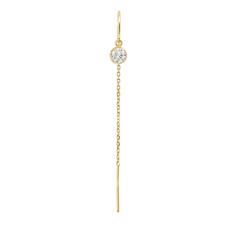 14K Yellow Gold .25 Carat Diamond Bezel Cable Chain Threader Single Earring
