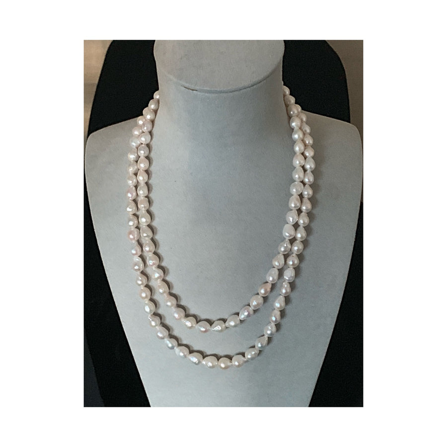 Antibes White Baroque Freshwater Pearl Necklace ~ Gold Magnetic Clasp