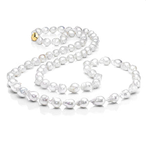 Les Trois Corniches Large White Baroque Freshwater Pearl Necklace ~ Gold Clasp