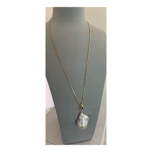 Hip Hop Goes The Clock 14K Gold Baroque Pearl Pendant Necklace