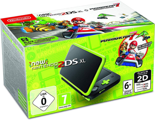 Nintendo Handheld Console Nintendo 2DS XL Black and Lime Green Pre-installed with Mario Kart 7 (Nintendo 3DS)