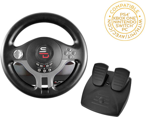 Subsonic Driving Wheel with pedals and gearshift paddles for for Switch - PS4 - Xbox One - PC