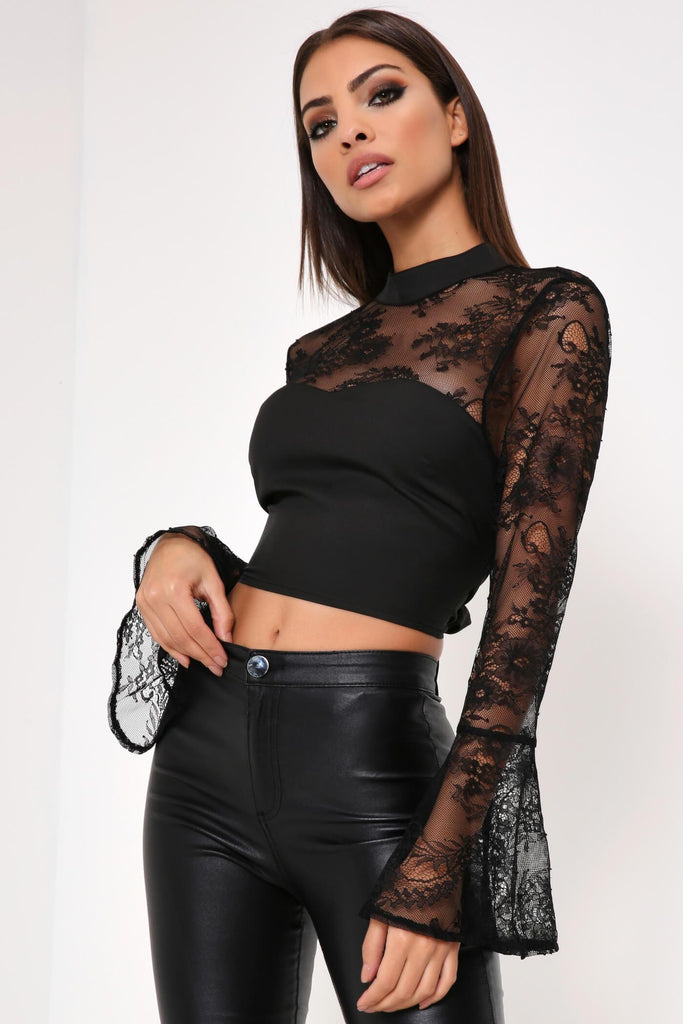 Black Lace Crop Top With Tie Waist