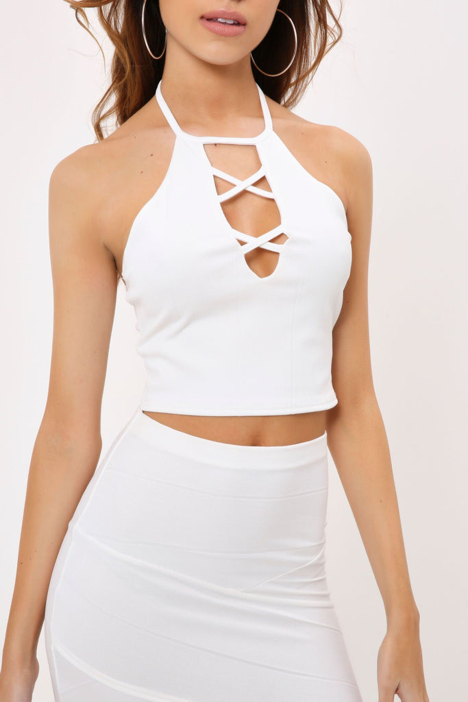 White Bandage Lace Up Front Crop Top