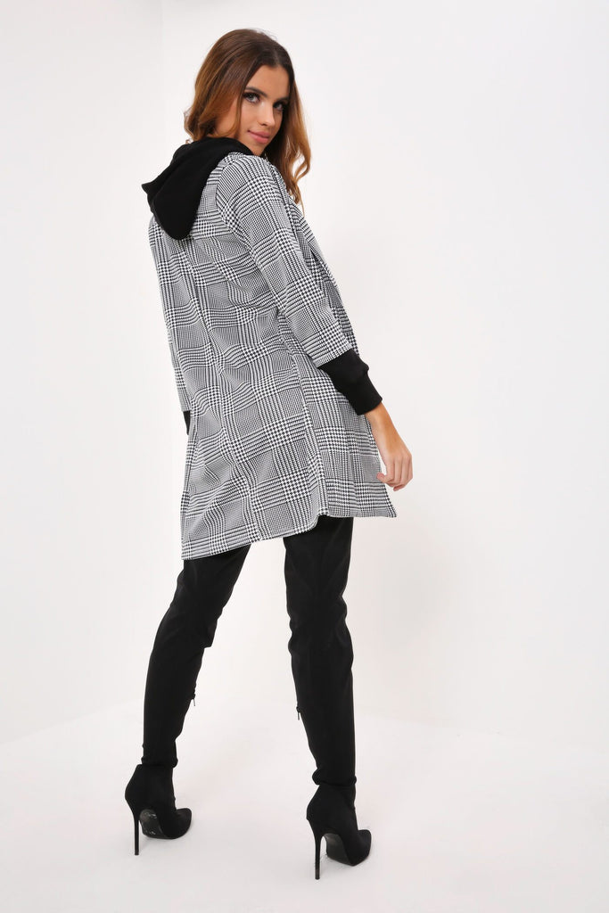 Black/White 3/4 Sleeve Longline Check Blazer