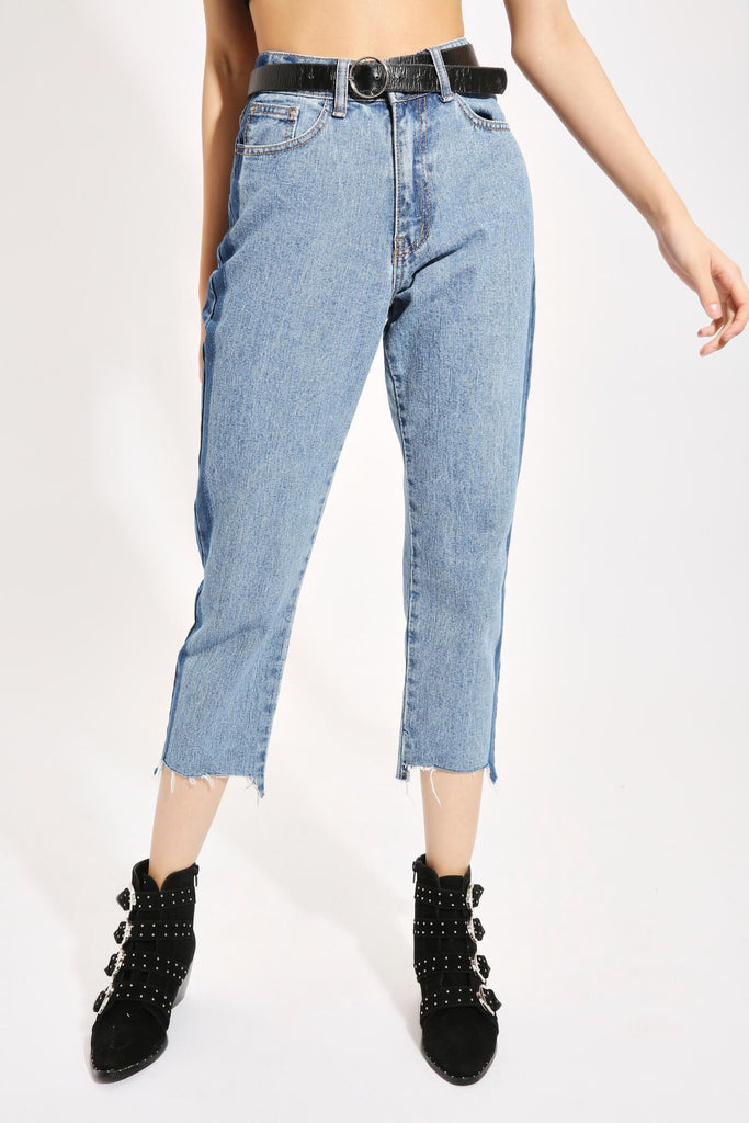 Dark Wash Contrast Panel Mom Jeans