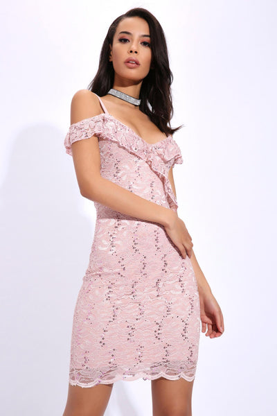 Pink Choker Lace Sleeve Bodycon Dress - 10 / PINK I Saw It First dfF1r6OF