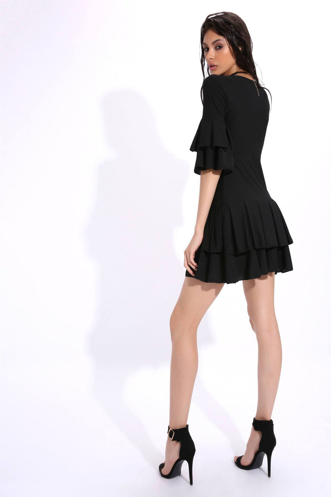 Black Frill Plunge Dress