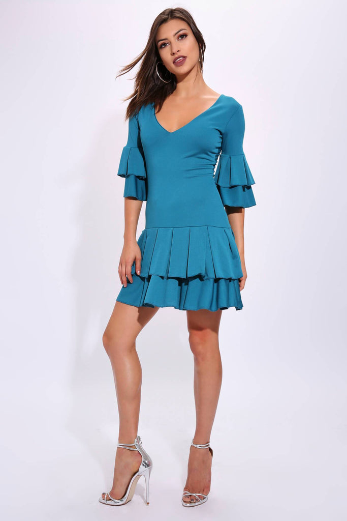 Teal Frill Plunge Dress