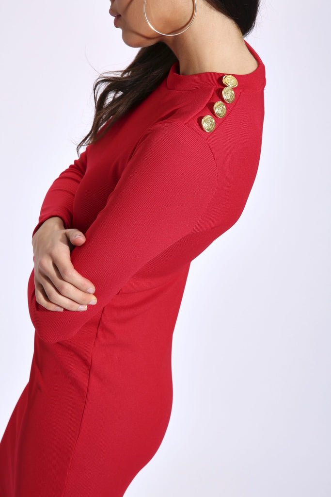 Red Heavy Rib Long Sleeve Dress With Buttons