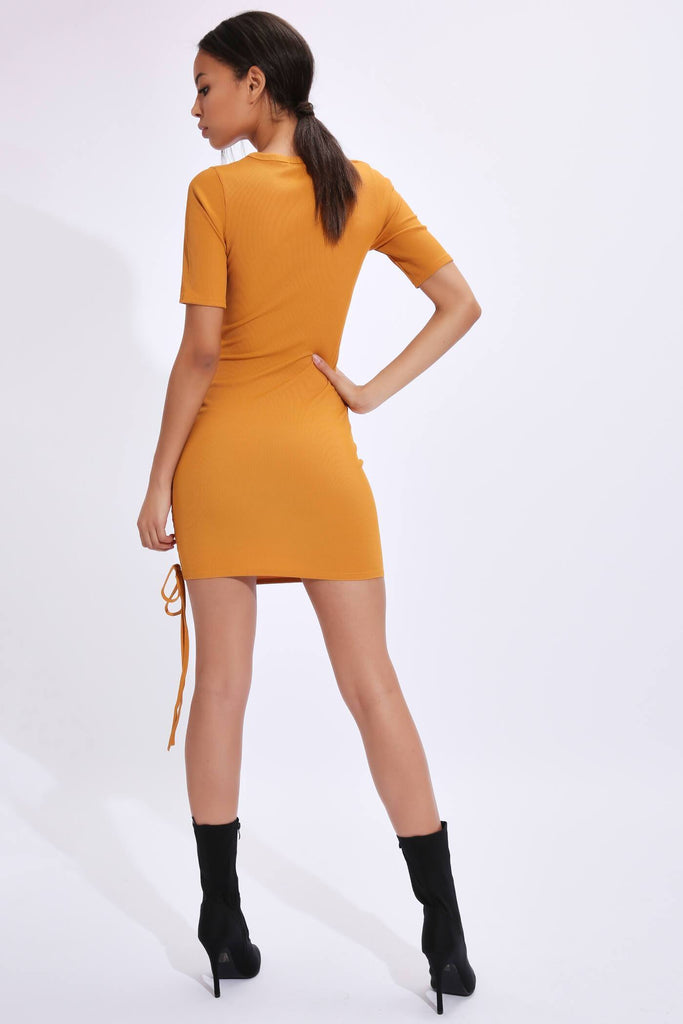 Mustard Asymmetric Ruched Dress