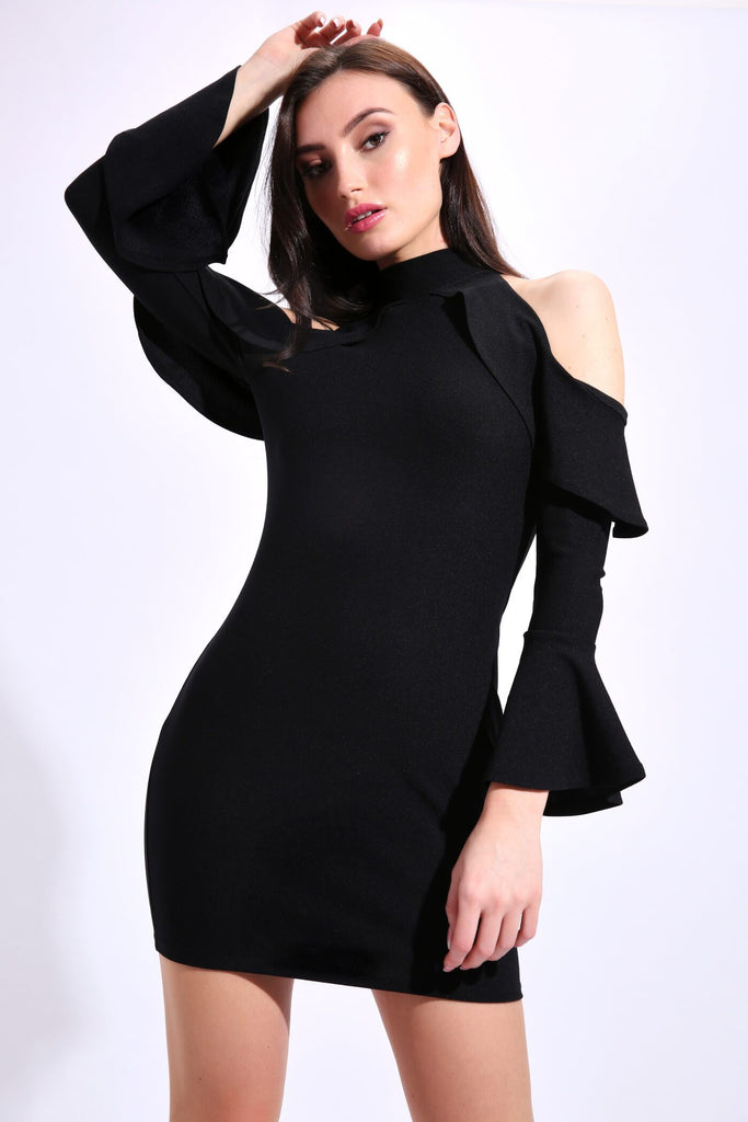 Black Cold Shoulder Mini Ruffle Dress