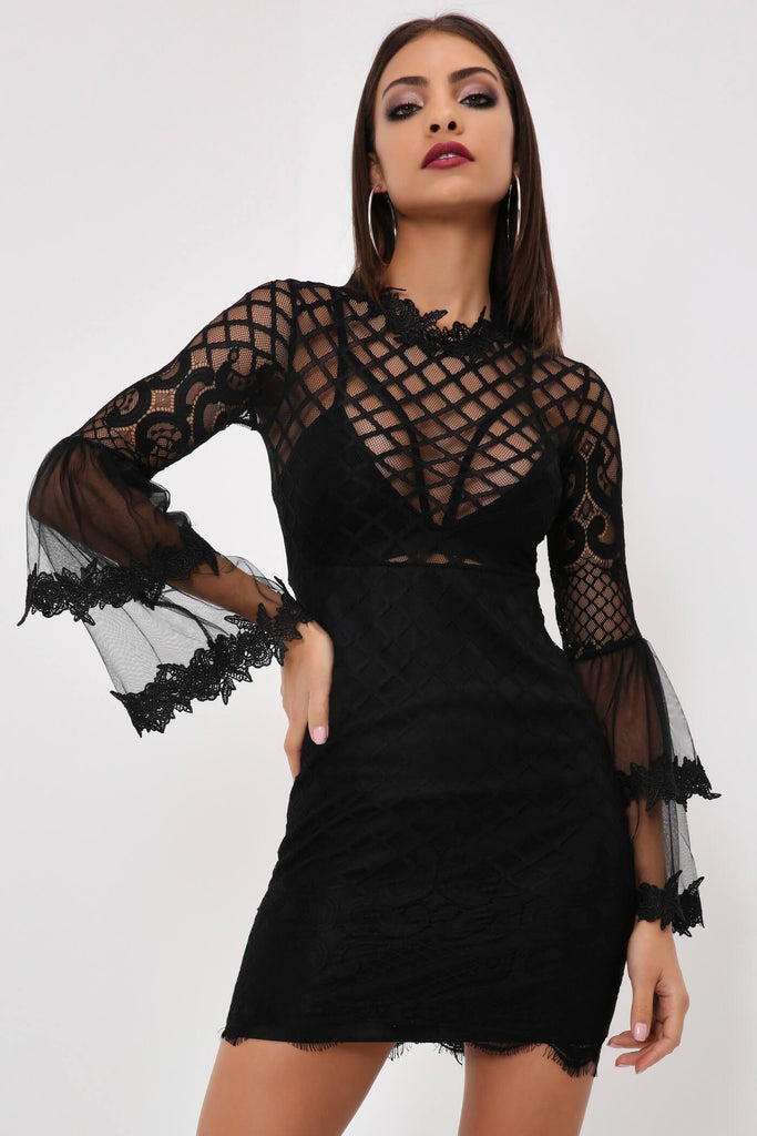 Black Black Lace Mini Dress With Flare Sleeves