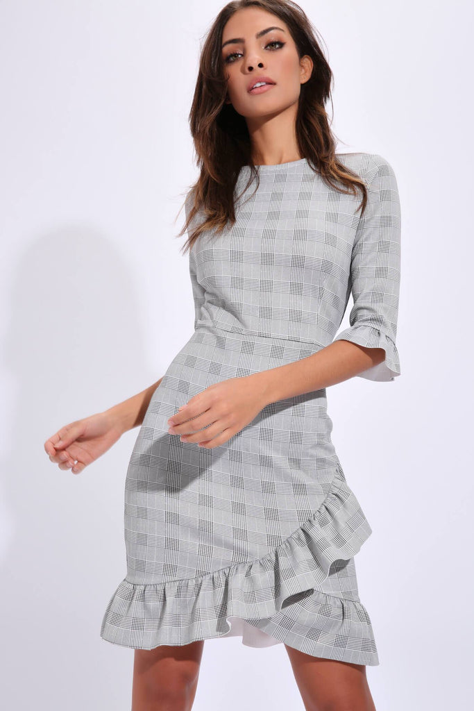 Black/White Check Frill Hem Tea Dress