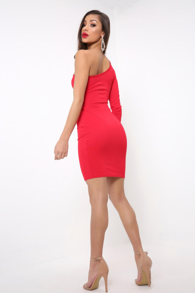 Red Cut Out One Shoulder Dress