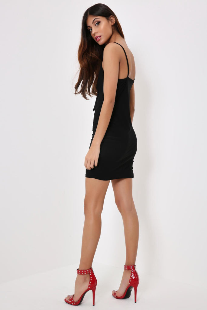 Black Cami Tie Front Dress