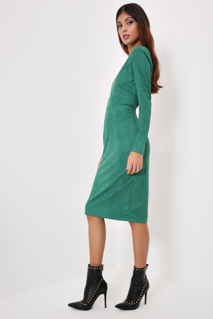 Green Faux Suede One Shoulder Buckle Dress