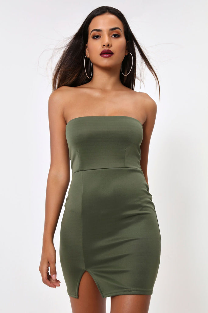 Khaki Bandeau Split Bodycon Dress