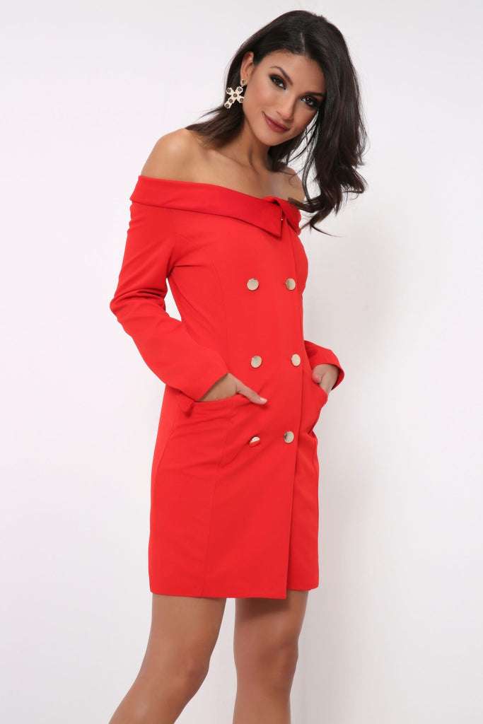 Red Bardot Off The Shoulder Blazer Dress