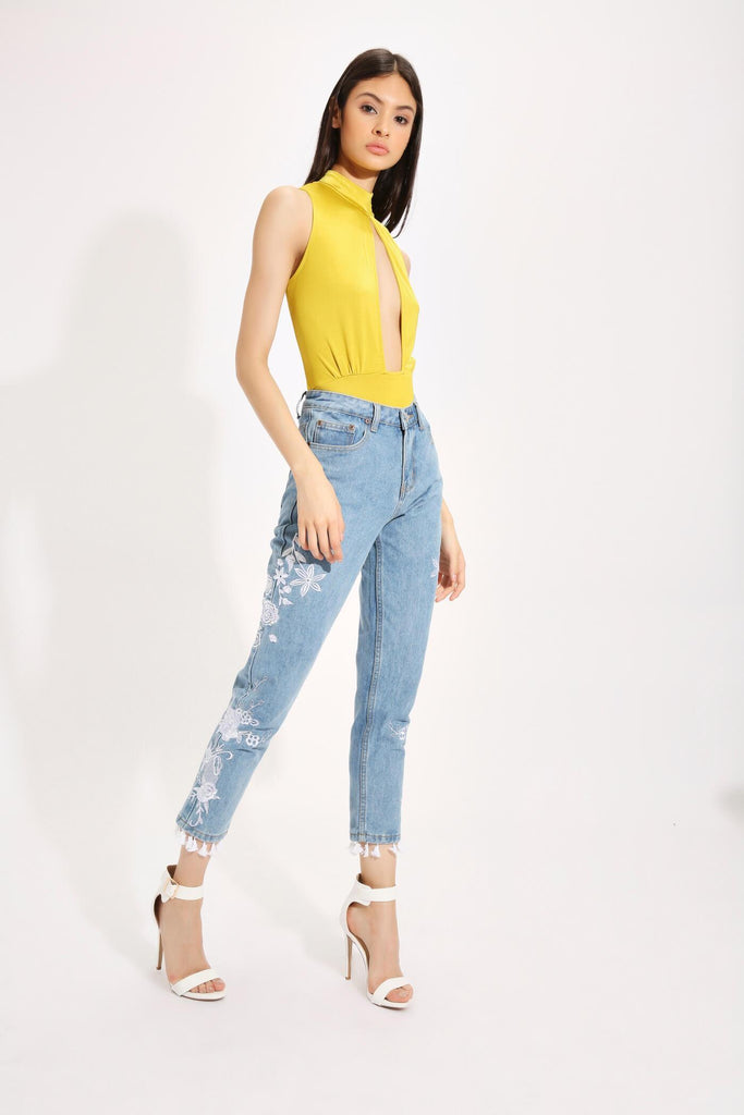 Mustard High Neck Sleeveless Plunge Bodysuit