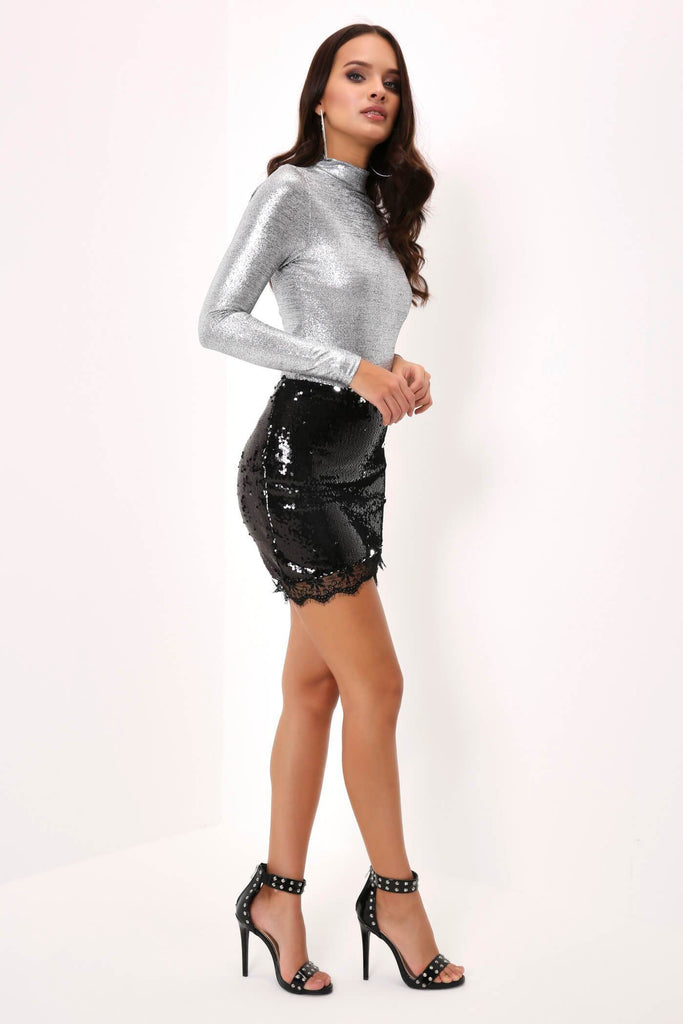 Black Full Sequin Mini Skirt With Lace Detail