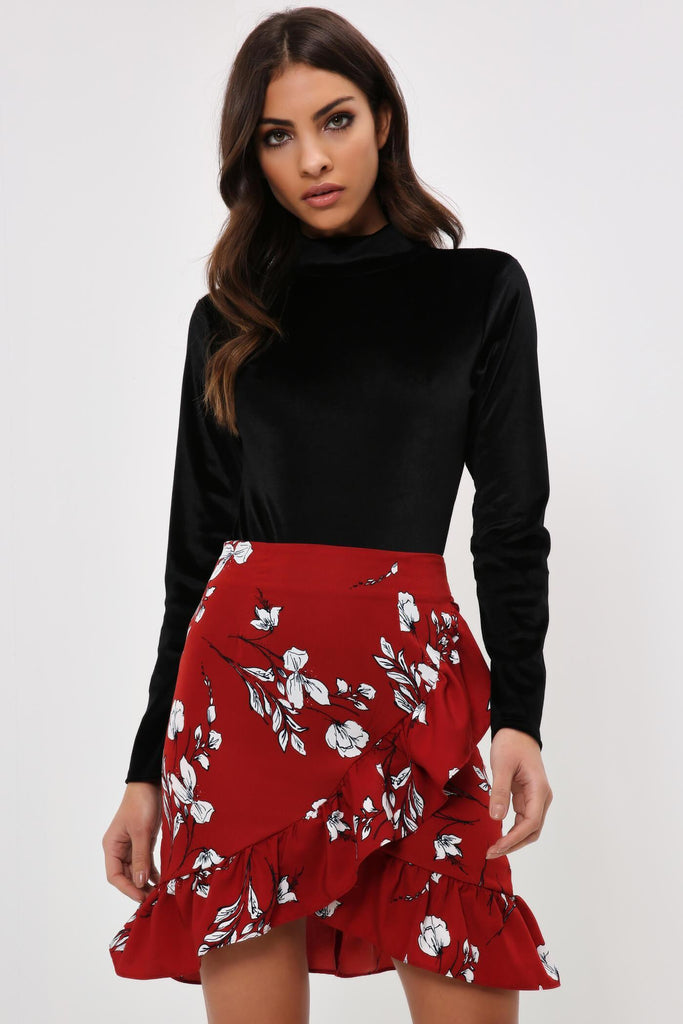 Red Floral Tie Waist Frill Skirt