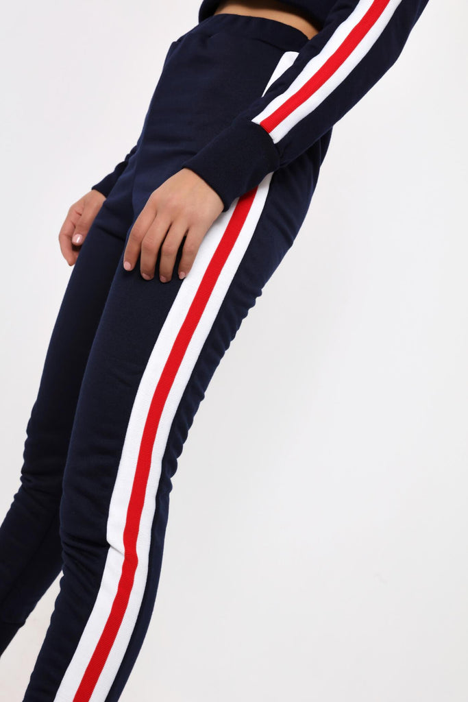 Navy Joggers With Trim