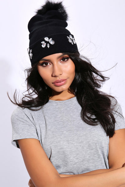 Black Diamante Pom Beanie