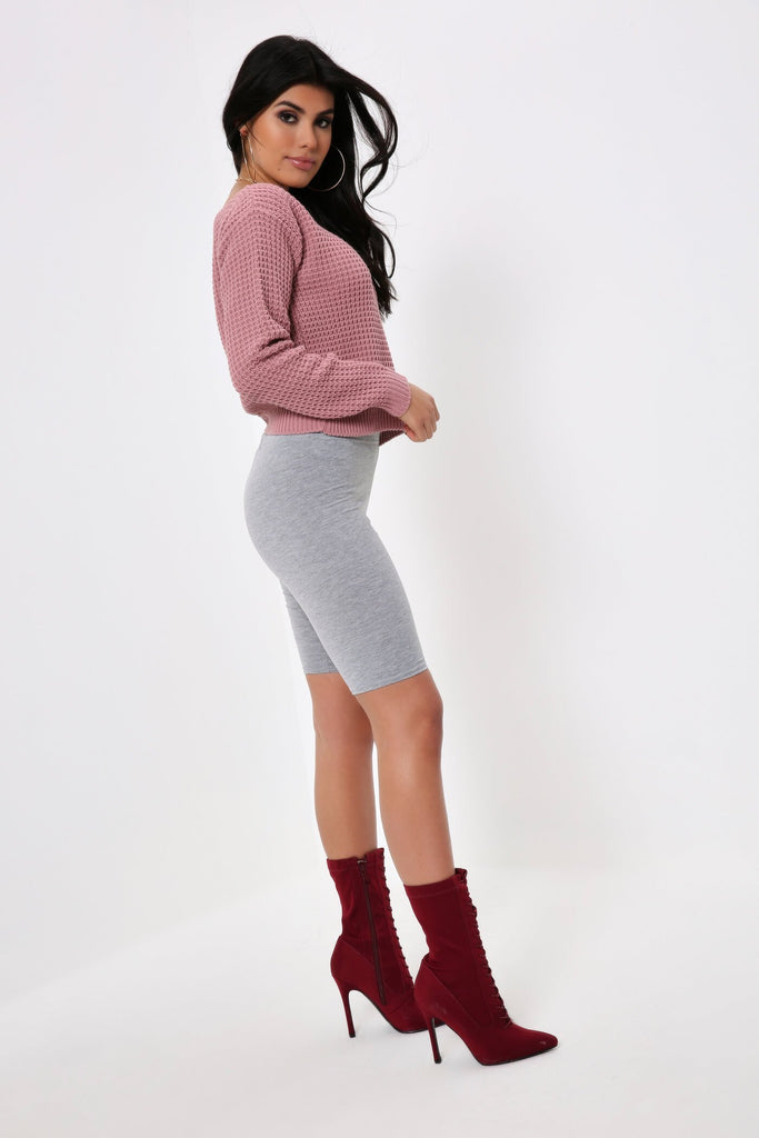 Old Rose Knit Slash Neck Crop Jumper