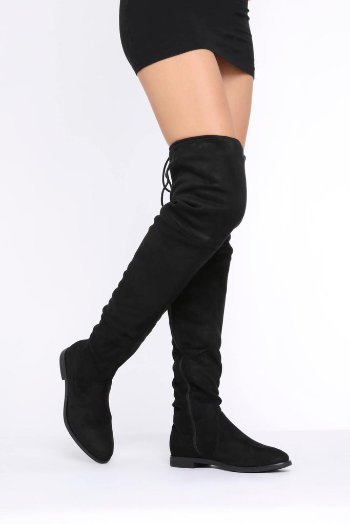 Black Flat Faux Suede Thigh High Boots
