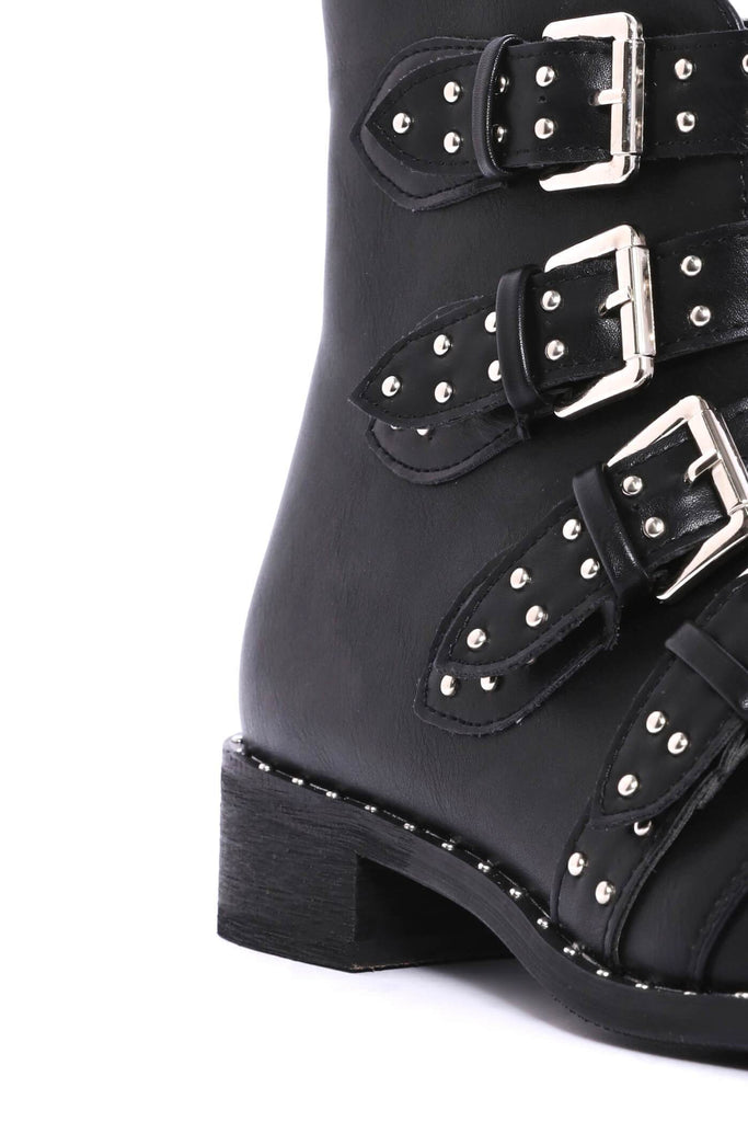 Black Buckle Flat Boots