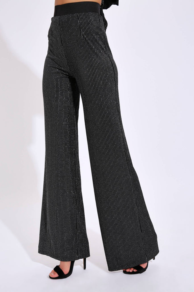 Black/Silver Glitter Striped Trouser