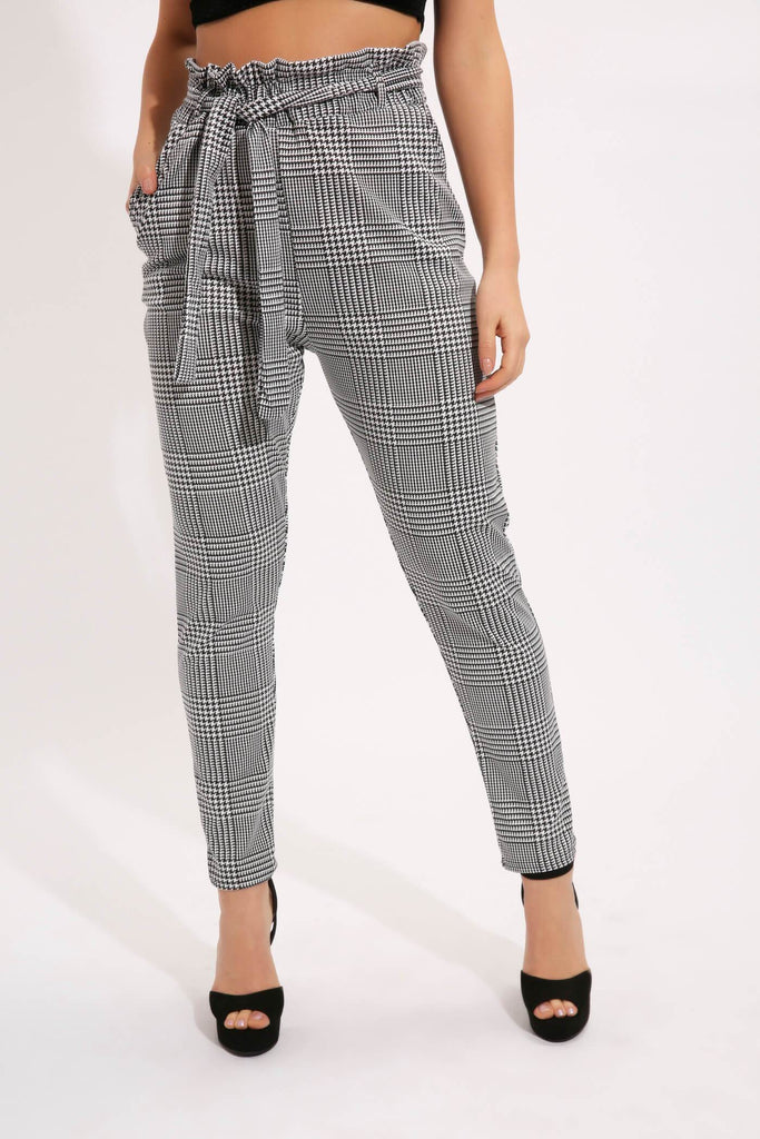 Black/White Check Tie Waist Paper Bag Trousers