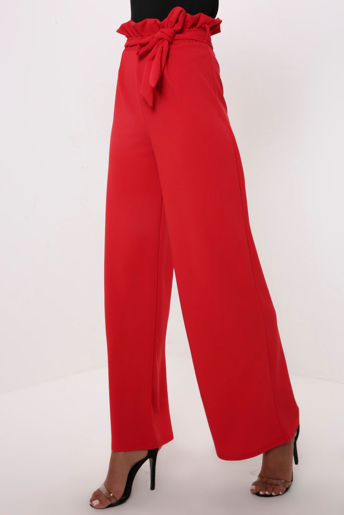 Red Paper Bag Tie Front Trousers