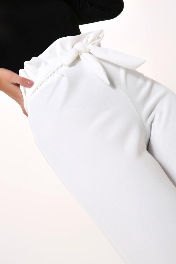 White Paper Bag Tie Front Trousers