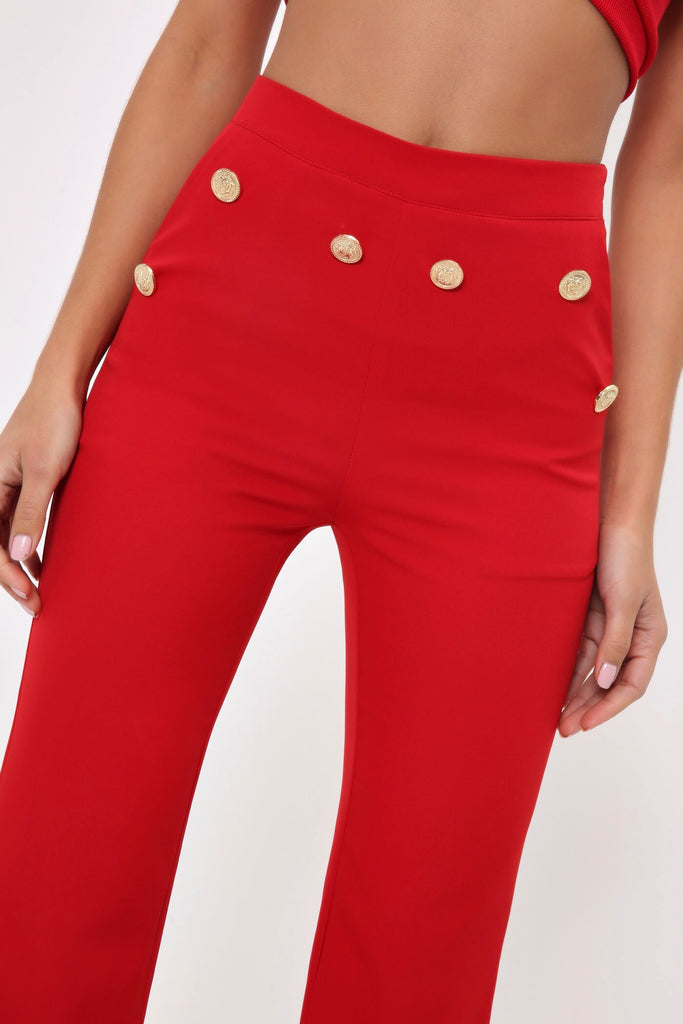 Red Gold Military Button Flared Trousers