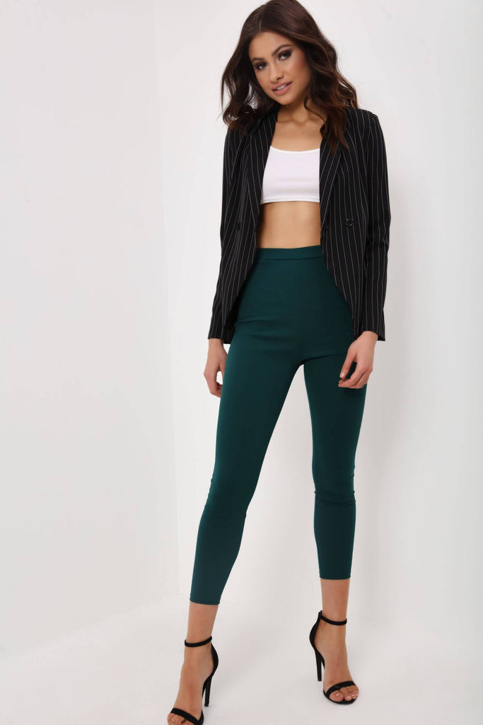 Green Crepe Skinny Cigarette Trousers