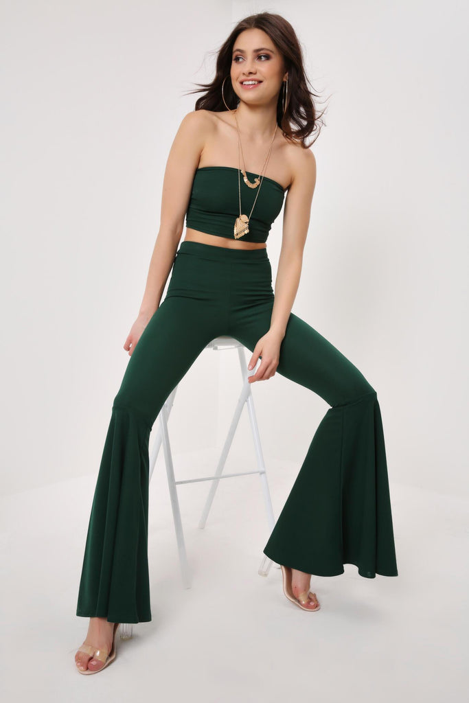 Green Crepe Flared Trouser