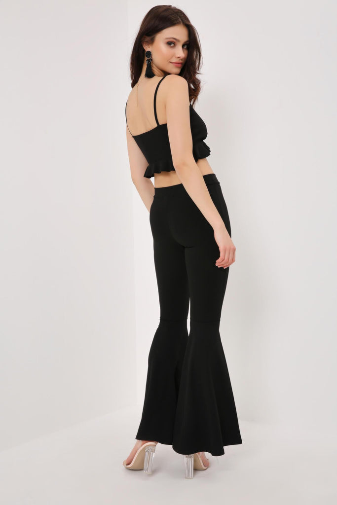 Black Crepe Flared Trousers
