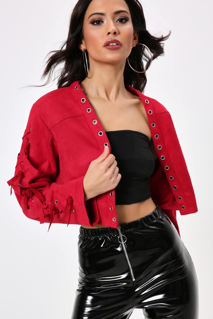 Burgundy Faux Suede Eyelet Detail Crop Jacket